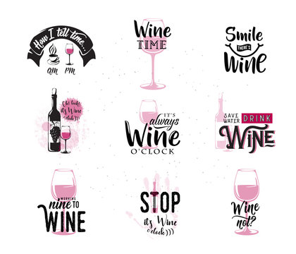 Vector illustration of drink wine related typographic quote
