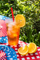 Fourth of July iced tea with lemon summer picnic