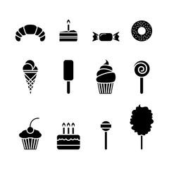 Dessert icon set. Isolated sweet food flat symbol. Vector sign illustration on white.