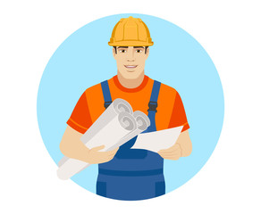 Builder holding the project plans and paper
