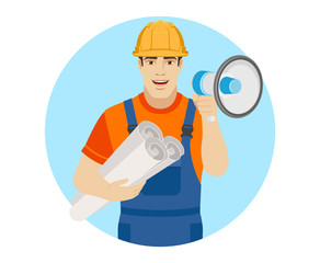 Builder with loudspeaker holding the project plans