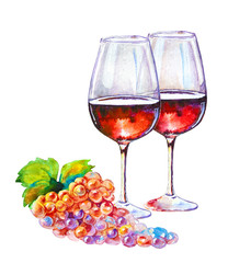 Glass of red wine isolated on white background. Picturesque drawing