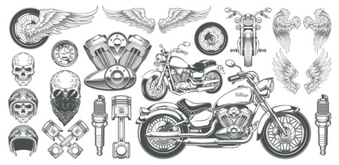 Set of vector illustrations, icons of hand-drawn vintage motorcycle in various angles, skulls, wings in the style of engraving. Classic chopper in ink style. Print, engraving, template, design element