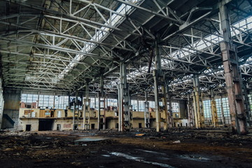 Large abandoned industrial hall of Voronezh excavator plant