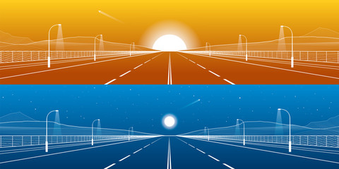 Day and night empty highway panorama set. Big road. Mounrains on background. White lines on blue and orange background, vector design art