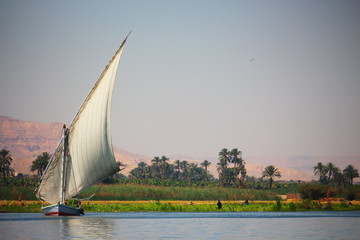 View of feluka boat sailing in the Nile river close to Luxor harbor, Egypt.