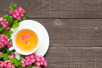 cup of summer flower tea with pink blossoming branches