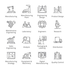 Black Manufacturing Engineering Icons - Outline Series