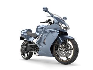 Metallic steel blue super sports bike - beauty shot