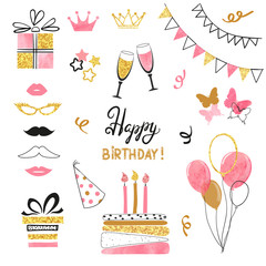 Birthday party icon set in pink, black and golden colors. Vector hand drawn illustration