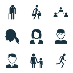 Human Icons Set. Collection Of Running, Scientist, Family And Other Elements. Also Includes Symbols Such As Child, Courier, Head.