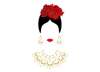 Portrait of modern Latin or Spanish woman, Lady with gold necklace crafts and red flowers , Icon isolated, Vector illustration transparent background