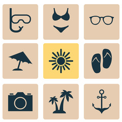 Summer Icons Set. Collection Of Spectacles, Armature, Video And Other Elements. Also Includes Symbols Such As Beach, Sunglasses, Palms.