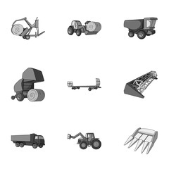 Set of pictures about agricultural machinery. Cars to robots to the ground.Agricultural Machinery icon in set collection on monochrome style vector symbol stock illustration.