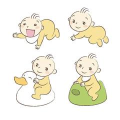 いろいろなポーズと表情の赤ちゃんイラスト