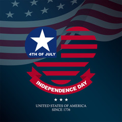Dark flat american independence day emblem with heart icon, for greeting card