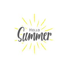 Summer (Hello) lettering typography vector design on white background. Lettering design concept.