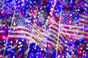 American flag background in abstract night view with colorful bokeh lights