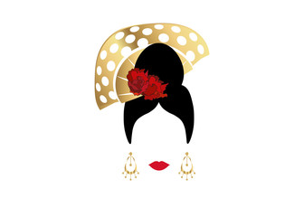 Portrait of modern Latin or Spanish woman dancer , Lady with gold accessories peineta and red flower ,Icon isolated, Vector illustration transparent background