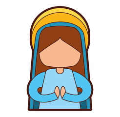 mary virgin manger character vector illustration design