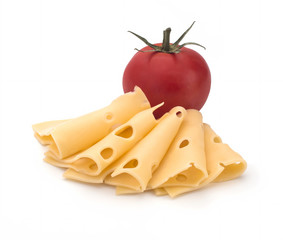 Cheese and tomatoes on a white background