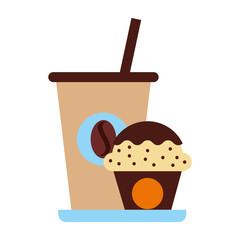 delicious coffee with cupcake vector illustration design