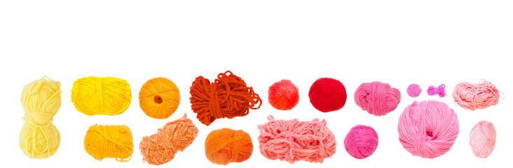 Wool yarns of different colors. Isolated.