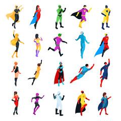 Set of isometric superheroes isolated on white background.