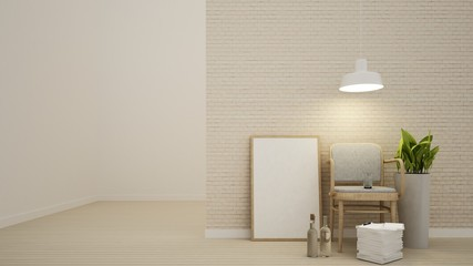 Interior 3d living minimal space and brick wall decoration  - 3D Rendering