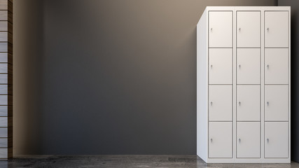 Locker cabinet in gym , 3d rendering