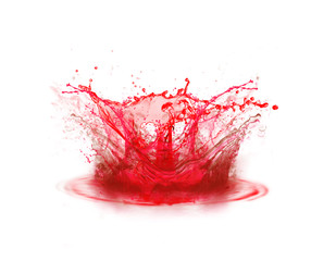 Blood colour drop splashing on white background