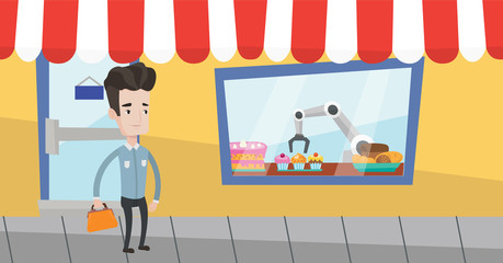 Caucasian businessman standing in front of showcase of bakery shop where the robotic arm works. Robotic arm serving a dessert at the bakery shop. Vector flat design illustration. Horizontal layout.