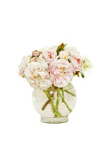 White and pink wild roses in vase with no background/Bouquet of white and pink wild roses in vase with white isolated background