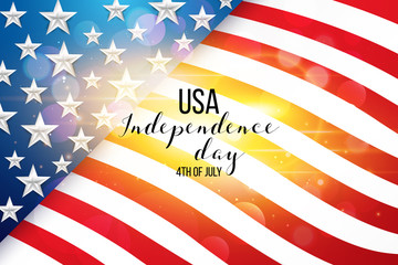4th fourth of July, United Stated (USA) independence day greeting, typographic design. United states of America. Fourth of July. Banner, border with stars, balloons, fireworks,confetti, ribbon.