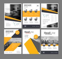 Company flyer vector illustration set