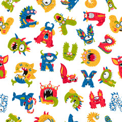 Seamless pattern of different monsters