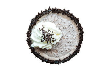 Top view of chocolate frappe with whipped cream isolated on white background