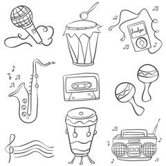 Music doodles vector hand draw