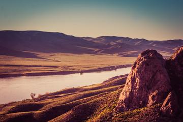 Ili river, Kazakhstan. Steppe landscape in spring