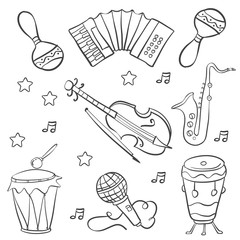 Collection music doodle style hand draw