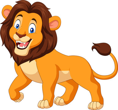 Cartoon happy lion isolated on white background