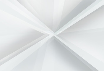 Abstract layer triangle in gradient white and gray background