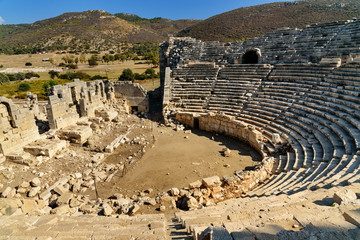 Amphitheater in ancient Lycian city Patara. Turkey