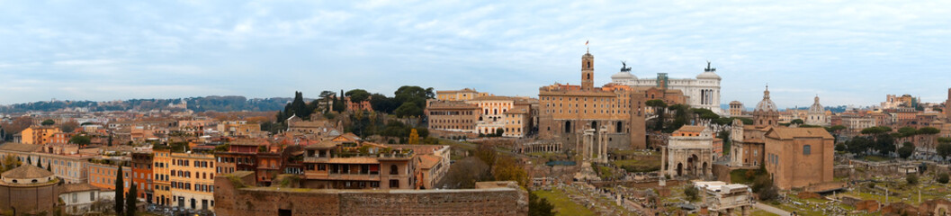 Panoramic view of some Rome monuments from the Palatine Hill