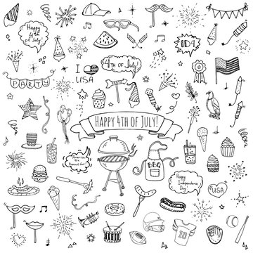 Hand drawn doodle Happy 4th of July icons set Vector illustration USA independence day symbols collection Cartoon sketch celebration elements: BBQ, food, drink, party, rocket, fireworks, American flag