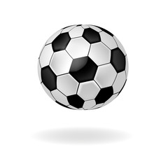 Sports black white soccer ball isolated on white background