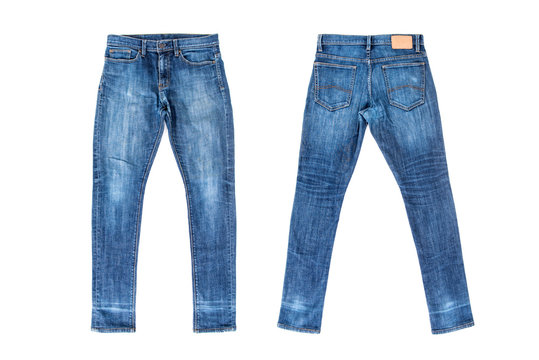 Men blue jeans isolated on white background