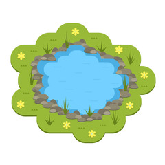 Cartoon vector garden pond illustration with water, plants and animals.