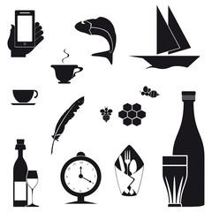 Icone nere su sfondo bianco