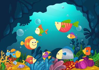 Poster Submarine Illustration of sea underwater background